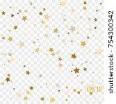 gold star confetti rain festive ... | Shutterstock .eps vector #754300342