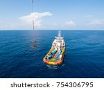 empty personnel transfer basket ... | Shutterstock . vector #754306795