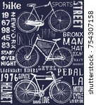 bike poster tee graphic design | Shutterstock .eps vector #754307158