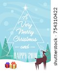 a very merry christmas and... | Shutterstock .eps vector #754310422