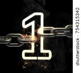 number one on the steel chain... | Shutterstock . vector #754315342