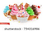 holiday. sweet dessert. cake ... | Shutterstock .eps vector #754316986