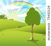 tree on sundown | Shutterstock . vector #75432124