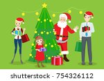 cartoon family with christmas...   Shutterstock .eps vector #754326112