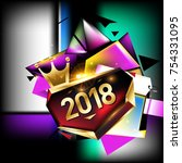 vector new year 2018 poster and ... | Shutterstock .eps vector #754331095