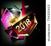 vector new year 2018 poster and ...   Shutterstock .eps vector #754332415