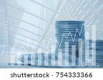 double exposure stacks of coins ... | Shutterstock . vector #754333366