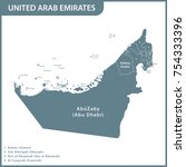 the detailed map of the uae... | Shutterstock .eps vector #754333396