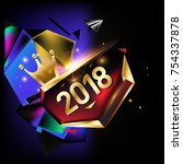 vector new year 2018 poster... | Shutterstock .eps vector #754337878