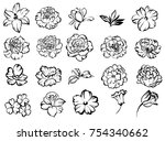 collection of flowers elements | Shutterstock . vector #754340662