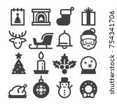 christmas 2017 icons | Shutterstock .eps vector #754341706