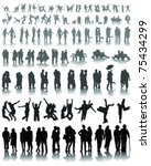 set of couple silhouettes of... | Shutterstock .eps vector #75434299