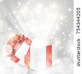 white gift box with red bow and ... | Shutterstock .eps vector #754344205