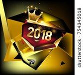 vector new year 2018 poster... | Shutterstock .eps vector #754345018