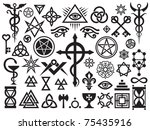 medieval occult signs and magic ... | Shutterstock .eps vector #75435916