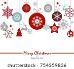christmas ornament balls with... | Shutterstock .eps vector #754359826