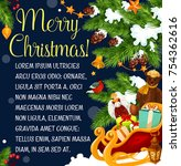 merry christmas greeting card... | Shutterstock .eps vector #754362616