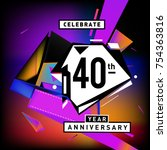 40th years anniversary card... | Shutterstock .eps vector #754363816