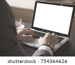close up of businessman using a ... | Shutterstock . vector #754364626