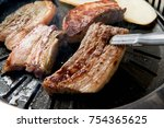 delicious pork belly pan or... | Shutterstock . vector #754365625