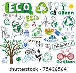 eco vector set   doodles and... | Shutterstock .eps vector #75436564