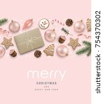 christmas greeting card with... | Shutterstock .eps vector #754370302