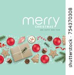 christmas greeting card with... | Shutterstock .eps vector #754370308