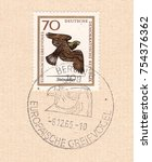 germany circa 1965 a stamp... | Shutterstock . vector #754376362