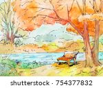 watercolor autumn landscape.... | Shutterstock . vector #754377832