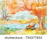 watercolor autumn landscape.... | Shutterstock . vector #754377832