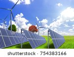 solar power and wind power to... | Shutterstock . vector #754383166