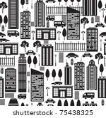 Seamless Pattern Of City.