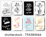 christmas hand drawn cards with ... | Shutterstock .eps vector #754384066