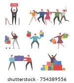 shophoric characters. vector... | Shutterstock .eps vector #754389556