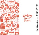 happy new year greeting card.... | Shutterstock .eps vector #754390222