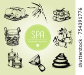 hand drawn set of spa... | Shutterstock .eps vector #754391776
