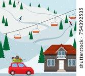 ski resort snow mountain... | Shutterstock .eps vector #754392535