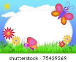 kid scrapbook with butterfly... | Shutterstock . vector #75439369