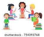 group of reading kids siting on ... | Shutterstock .eps vector #754393768