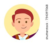 passport photo of young... | Shutterstock .eps vector #754397068