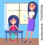 schoolgirl sitting near window  ... | Shutterstock .eps vector #754399336