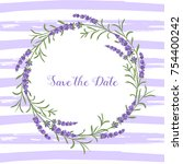 vector lavender wreath.... | Shutterstock .eps vector #754400242