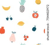 fruits and berries cute flat... | Shutterstock .eps vector #754402972