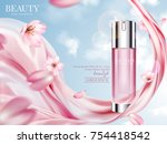 Stock vector rose toner ads elegant cosmetic advertising with cherry blossom petals and pink chiffon in d 754418542
