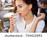 elegant  good looking woman... | Shutterstock . vector #754422892
