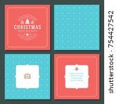 christmas greeting card vector...   Shutterstock .eps vector #754427542
