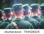 a formation line of russian... | Shutterstock . vector #754428325