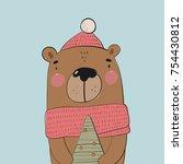Stock vector christmas print with cute hand drawn bear 754430812