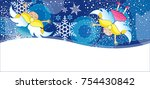 christmas card with angels | Shutterstock .eps vector #754430842