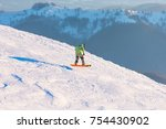 a snowboarder on the slope. ski ... | Shutterstock . vector #754430902
